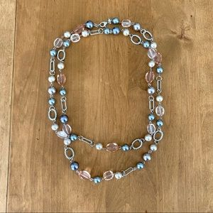 Necklace with pink and grey beads